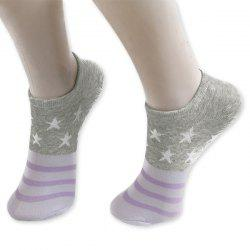 Pentagram Knitting Striped Ankle Socks - GRAY