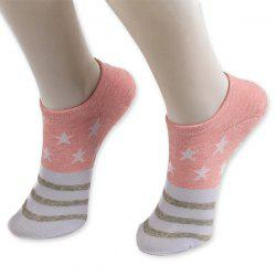 Pentagram Knitting Striped Ankle Socks - PINK