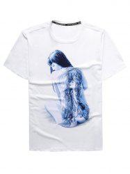 Crew Neck 3D Tattoo Girl Print T-Shirt
