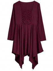 Square Neck Asymmetric Ruched Dress