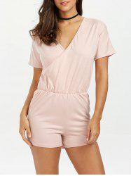 Plunging Neck Ruched Surplice Short Romper