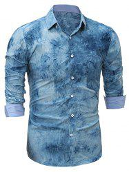 3D Tie Dye Print Cotton Shirt - BLUE