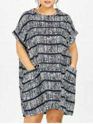 Plus Size Tie Dye Casual Stripe Dress