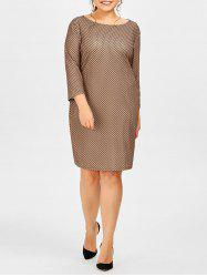 Plus Size Polka Dot Printed Sheath Dress