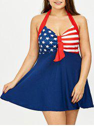 Plus Size Stars Stripes Halter American Flag Patriotic Tankini Set