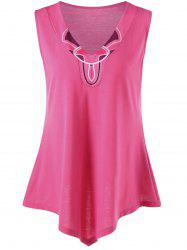 Plus Size V Neck Asymmetrical Tank Top