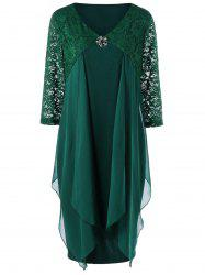 Lace Trim Drape Front Plus Size Dress - BLACKISH GREEN