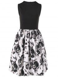 Sleeveless Floral Ball Gown Party Dress
