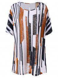 Plus Size Vertical Stripes Longline T-Shirt