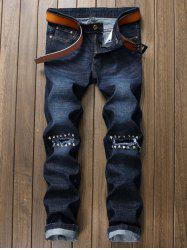 Rivet Straight Leg Ripped Denim Jeans