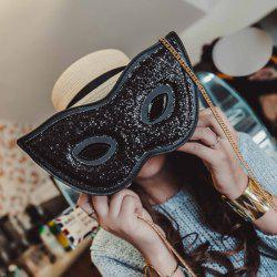 Mask Shape Chains Sequin Crossbody Bag - BLACK
