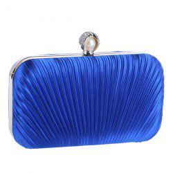 Pleated Satin Faux Pearl Evening Bag - BLUE