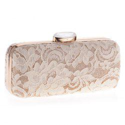 Metal Trim Lace Evening Bag - APRICOT