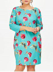 Plus Size Rose Floral Dress With Pockets