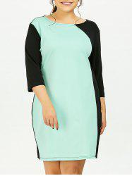 Plus Size Color Block Sheath Dress With Sleeves