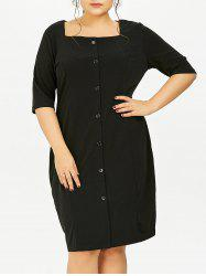 Plus Size Square Neck Button Up Dress