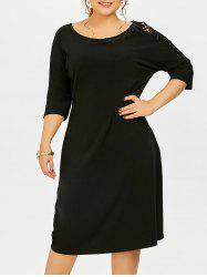 Plus Size Lace Insert Pencil Dress