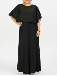 Flounce Open Back Plus Size Overlay Flowy Maxi Evening Dress