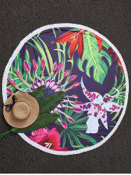 Floral Round Shape Tassel Beach Throw -