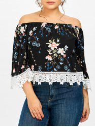 Plus Size Floral Off The Shoulder Lace Panel Crop Top