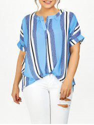 Plus Size Vertical Stripe High Low Shirt