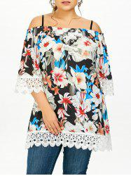 Plus Size Floral Lace Insert Tunic Blouse