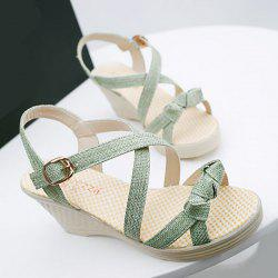 Wedge Heel Knots Sandals - GREEN