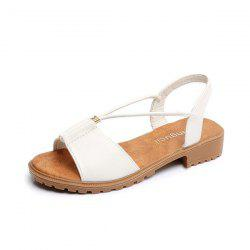 Faux Leather Flat Heel Sandals - WHITE