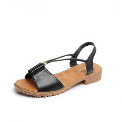Faux Leather Flat Heel Sandals - BLACK