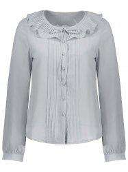 Pleated Flounce Button Up Blouse -