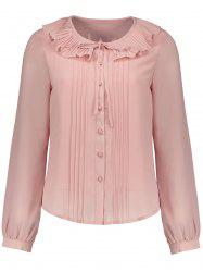 Pleated Flounce Button Up Blouse