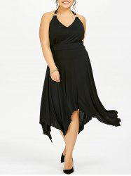 Halter Asymmetric Plus Size Swing Dress
