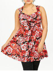 Criss Cross Floral Plus Size Babydoll Tank Top