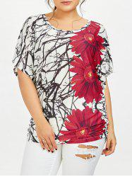Shirred Side Floral Casual Plus Size T-Shirt
