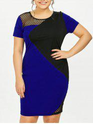 Plus Size Fishnet Color Block Pencil Work Dress