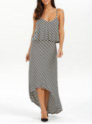 Striped High Low Slip Summer Casual Maxi Dress - STRIPE