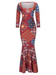 Long Tribal Print Mermaid Prom Dress