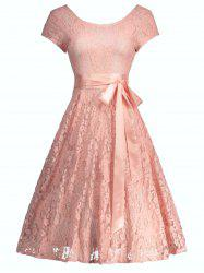 Lace Floral Wedding A Line Cocktail Dress - PINK