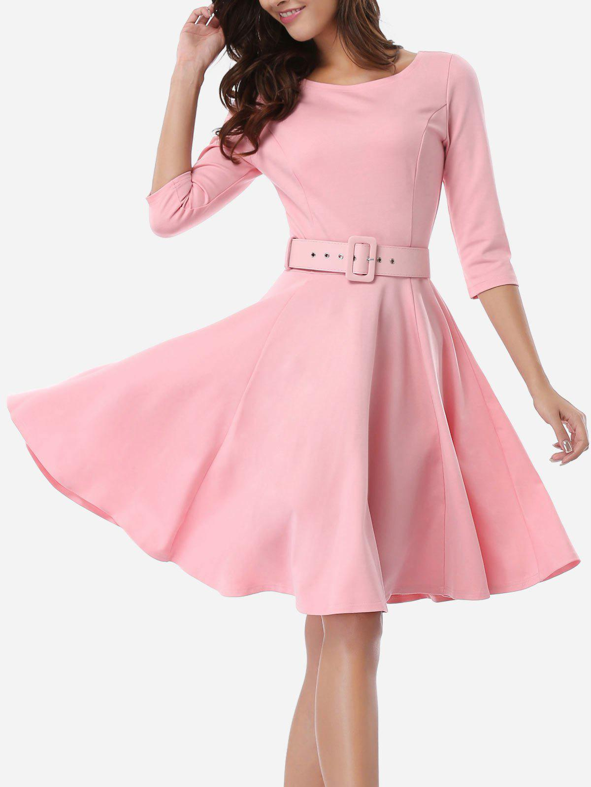 Office Belted Skater Going Out Swing DressWOMEN<br><br>Size: S; Color: PINK; Style: Vintage; Material: Cotton,Nylon,Spandex; Silhouette: A-Line; Dresses Length: Knee-Length; Neckline: Scoop Neck; Sleeve Length: 3/4 Length Sleeves; Pattern Type: Solid; With Belt: Yes; Season: Spring; Weight: 0.5700kg; Package Contents: 1 x Dress  1 x Belt;
