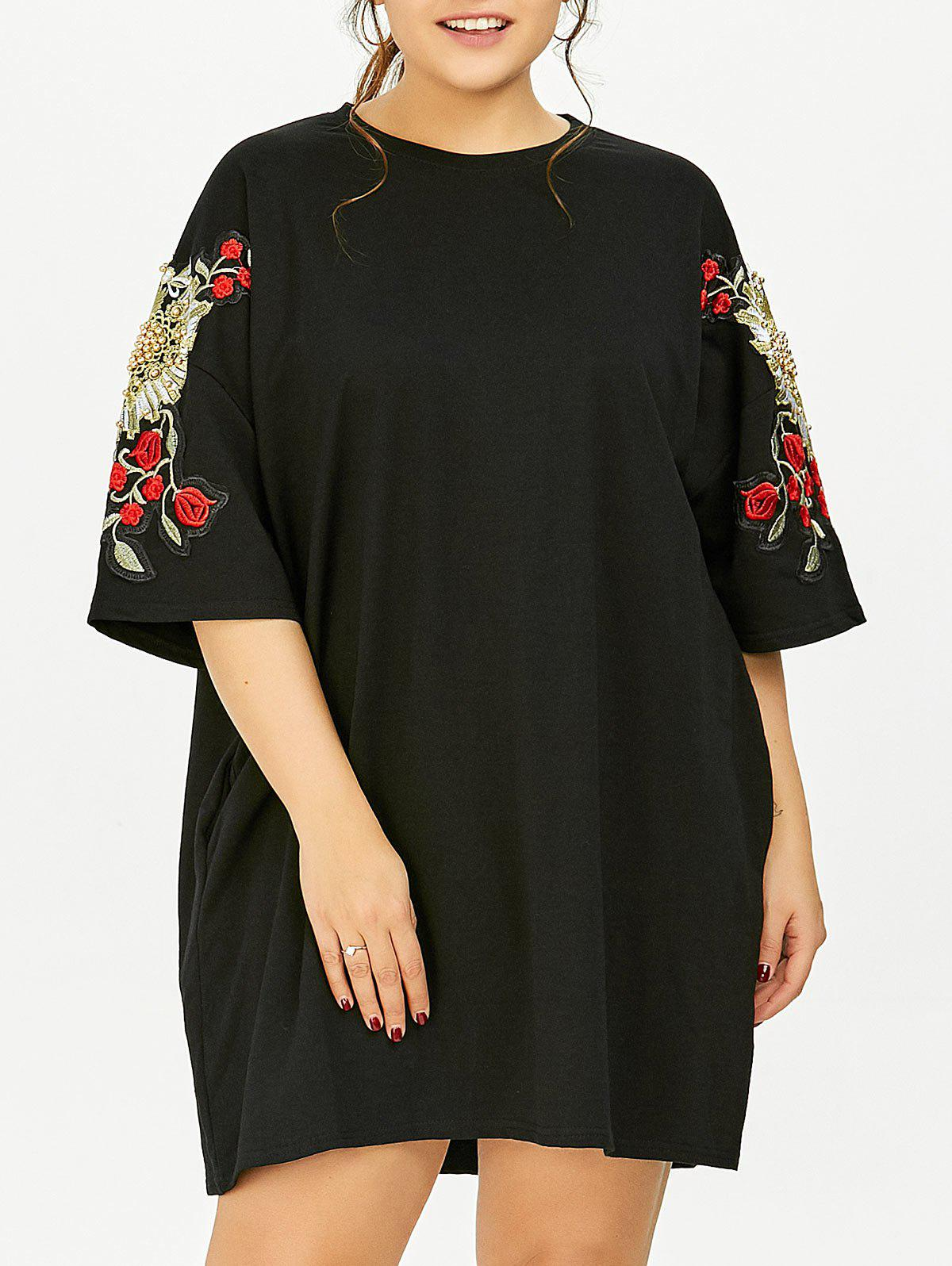 Black One Size Plus Size Floral Embroidered Tunic T-shirt ...
