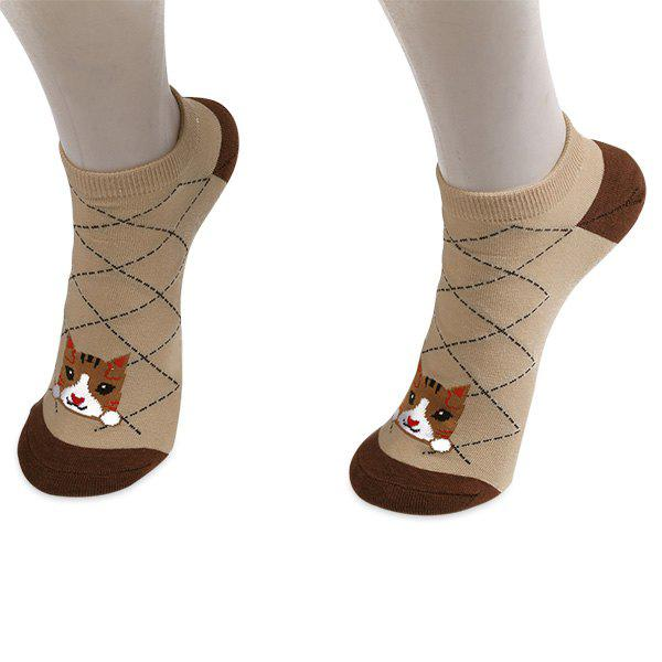 Striped Cartoon Cat Patterned Ankle SocksACCESSORIES<br><br>Color: COFFEE; Type: Socks; Group: Adult; Gender: For Women; Style: Fashion; Pattern Type: Animal; Material: Polyester; Weight: 0.0250kg; Package Contents: 1 x Socks(Pair);