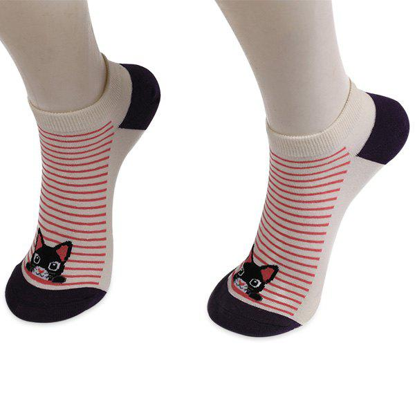 Striped Cartoon Cat Patterned Ankle SocksACCESSORIES<br><br>Color: DEEP PURPLE; Type: Socks; Group: Adult; Gender: For Women; Style: Fashion; Pattern Type: Animal; Material: Polyester; Weight: 0.0250kg; Package Contents: 1 x Socks(Pair);
