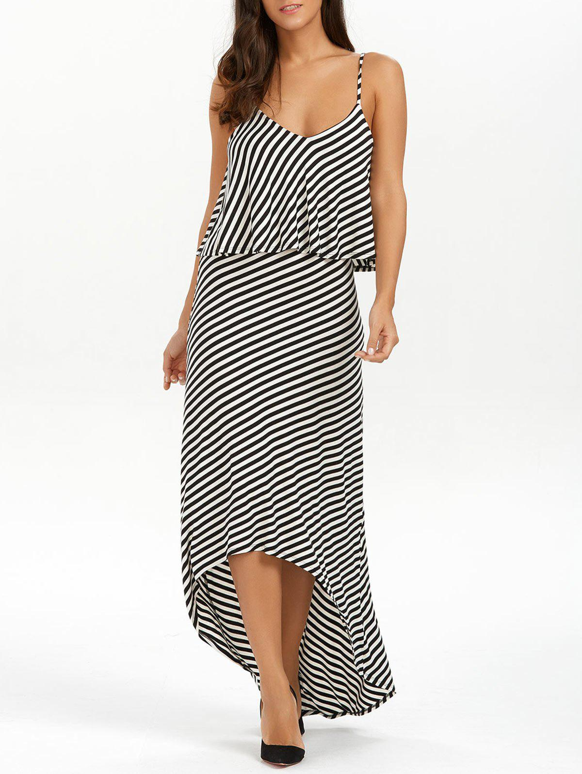 New Striped High Low Slip Summer Casual Maxi Dress