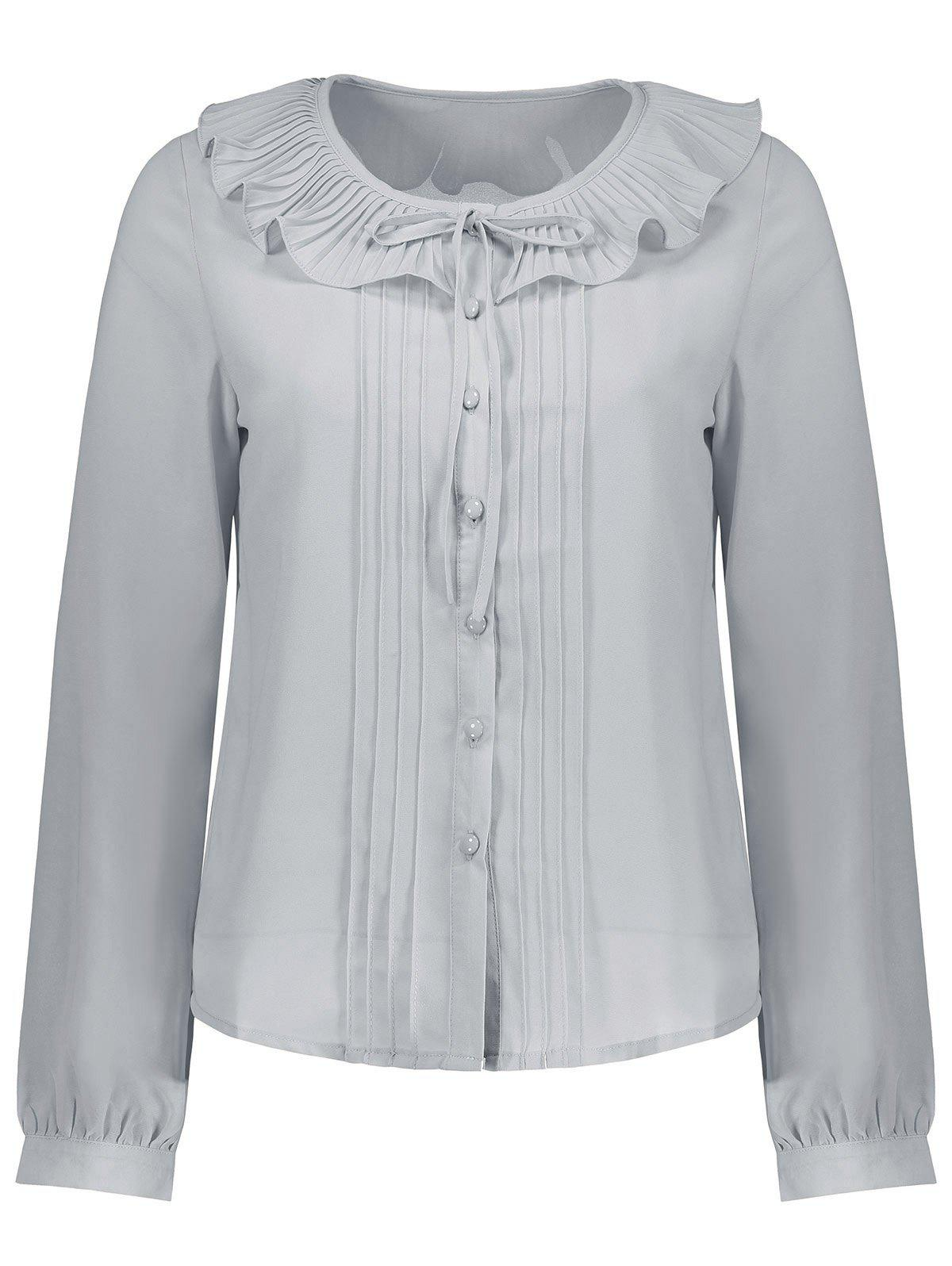 Discount Pleated Flounce Button Up Blouse