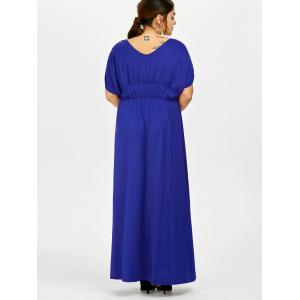 Plus Size Empire Waist Long Formal Evening Dress - BLUE 5XL