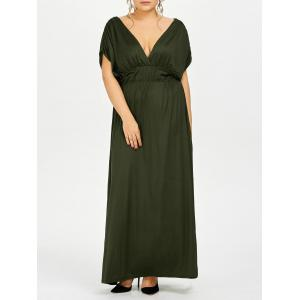 Plus Size Empire Waist Long Formal Evening Dress - Army Green - Xl