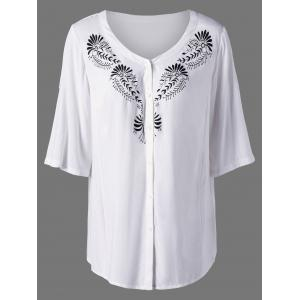 Plus Size Adjustable Sleeve Graphic Blouse