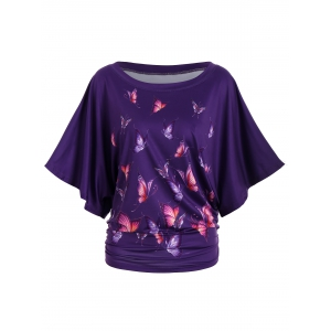 Digital Butterfly Print Batwing Top - Deep Purple - S