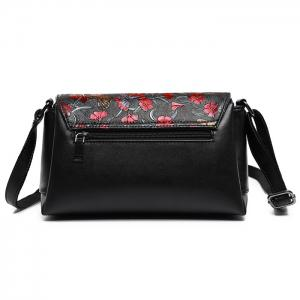 Flower Dragonfly Butterfly Embossed Crossbody Bag -