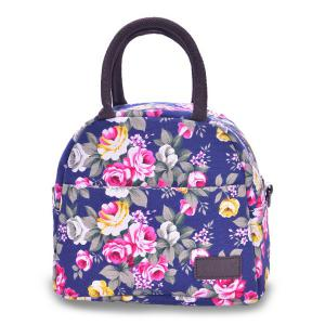 Canvas Floral Print Lunch Bag - Blue - 39